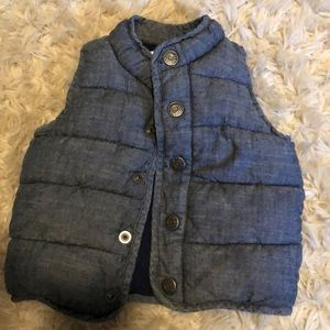Old Navy chambray puffer vest